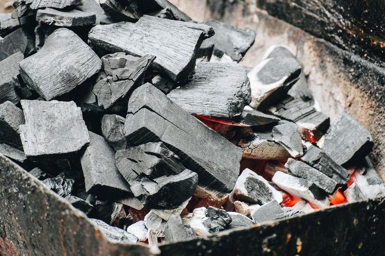 High Angle View Of Burning Coal