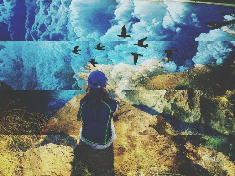 Blue Sky Ocean The Great Outdoors - 2016 EyeEm Awards Calaguasislands Island Alone Birds Edited Beginnerphotographer Layovers Vivid Colors