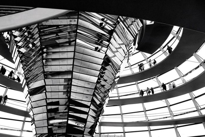 Glass Dome Dome Glass Mirror Reichstag Reichstagskuppel Eyeemblack&white Blackandwhite Architecture Germany Capital Cities  Berlin Photography Pattern Pieces Modern Architecture Mirror Reflection Architectural Detail Architecture_bw Travel The Architect - 2016 EyeEm Awards Monochrome Photography