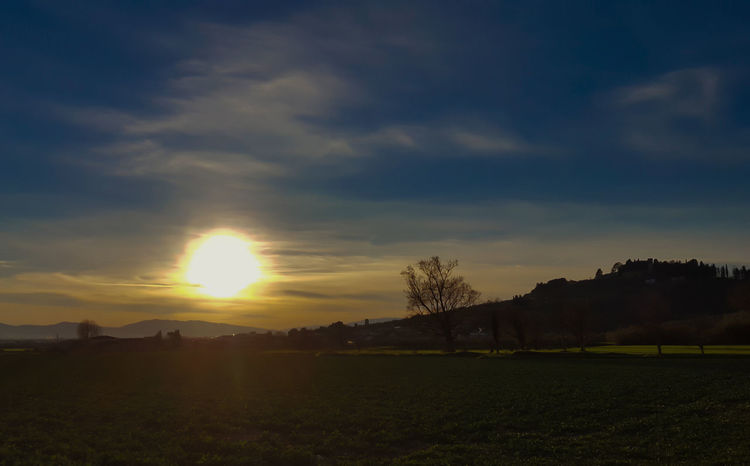 the house of the rising sun : la casa del sole che nasce Agriculture Beauty In Nature Cloud - Sky Day Field Landscape Nature No People Outdoors Rural Scene Scenics Sky Sun Sunlight Sunset Tranquil Scene Tree