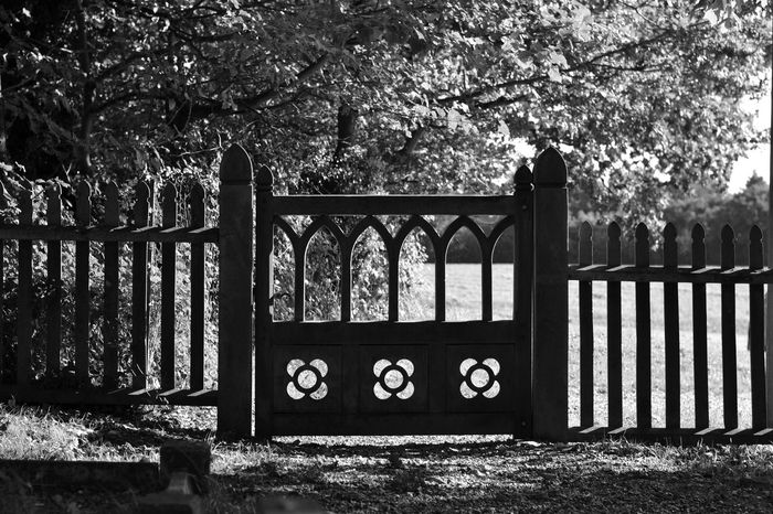 Gate Exploring In A Country Churchyard Blackandwhite NikonD3100 Light And Shadow