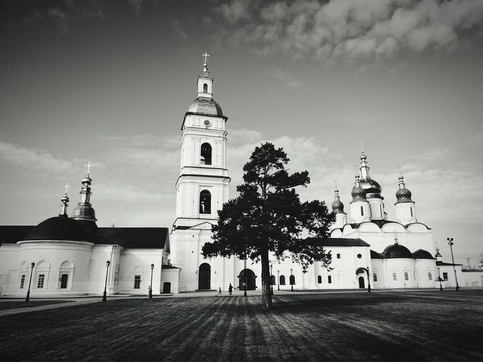 Low angle view of saint sophia cathedral by field against sky