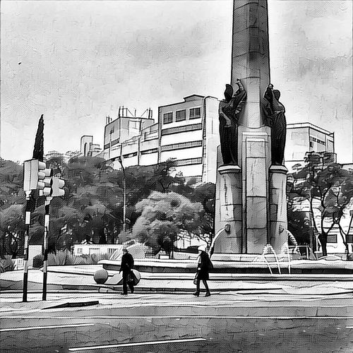Montevideo Montevideo,Uruguay Obelisco Ciudad Calle Urbano Peaton Fuente