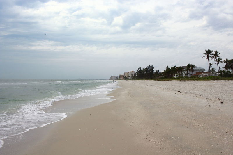 Beach Beauty In Nature Cloud - Sky Cloudy Coastline Fort Myers Beach Gulf Of Mexico Sand Sea Sky Water Wave