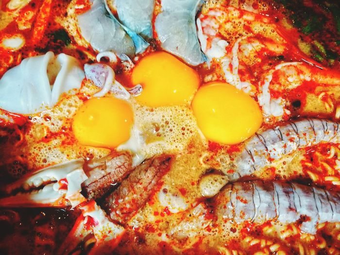 Seafood Tom Yum in Thailand Tom Yum SEAFOOD🐡 Crab Shrimps Squid Tom Yum Goong Sweet And Spicy Egg Yolk Backgrounds Full Frame Fried Egg Yellow Egg Close-up Food And Drink Textured  Served