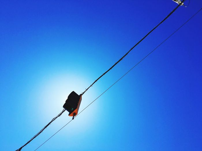 Blue Low Angle View Cable Clear Sky Power Supply Connection Electricity  Power Line  No People Outdoors Day Technology Telephone Line Nature