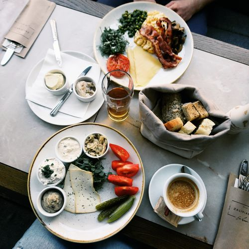 Breakfast Breakfast Food Comfort Food Plate Table High Angle View Food And Drink