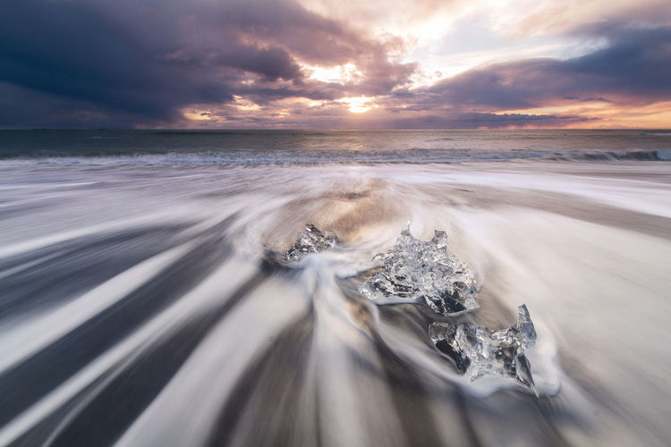 Waves at diamond beach Autumn Beauty In Nature Blurred Motion Cloud - Sky Cold Temperature Day Diamond Beach Glacier Ice Horizon Over Water Ice Diamonds Iceland Long Exposure Motion Nature No People Outdoors Scenics Sea Sky Storm Tranquil Scene Tranquility Water First Eyeem Photo