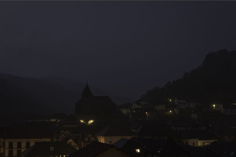Architecture Focus On Foreground Fog Landscape Mountain Nature Navarra Night Night Lights No People North Of Spain Outdoors Pyrenees Rural Silhouette Travel Travel Destinations Village
