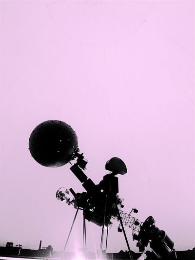 Silhouette Low Angle View Vibrant Color Star Ball Astronomy Planetarium Mechanical Stars Pink Modern Geometric Steampunk