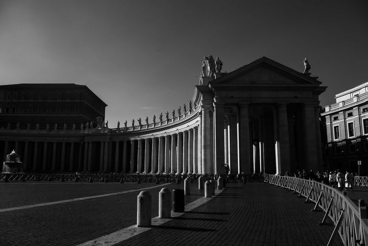 Architectural Column Architectural Feature Architecture Black And White Bnw Built Structure Capital Cities  City City Life Column Day Façade Italy Monochrome Outdoors Piazza Piazza San Pietro Rome Sky Square Streetphotography Tourism Travel Destinations Traveling Vatican