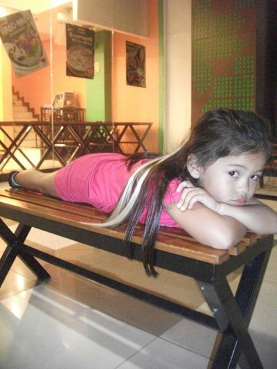 my daughter... too tired to walk ha ha ha! Relaxing