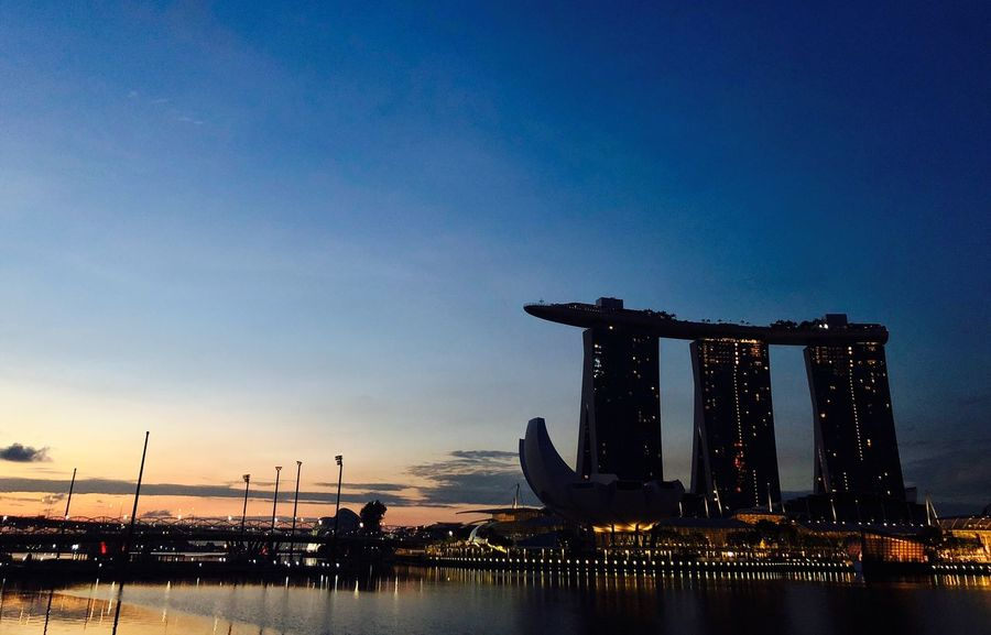Singapore Sky Architecture Built Structure Water Building Exterior City Nature No People Blue Night