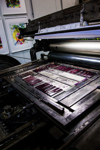 Indoors  No People Industry Technology Factory High Angle View Machinery Equipment Multi Colored Close-up Manufacturing Equipment Metal Art And Craft Printing Press Textile Business Manufacturing Day Thread Man Made Object