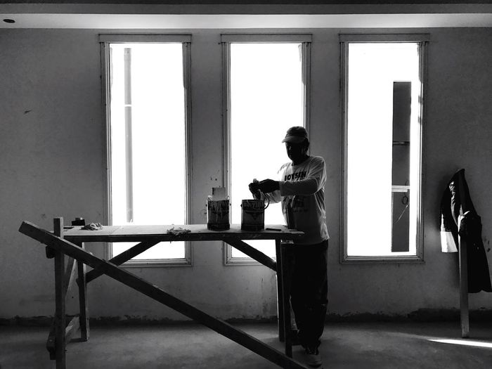 Art in workplace Real People Workshop Creative Light And Shadow Simplicity Lines Architecture Deceptively Simple Construction Work Shadow Construction Monochrome Eyeem Philippines Silhouette Light And Shadow Minimalism Blackandwhite Working