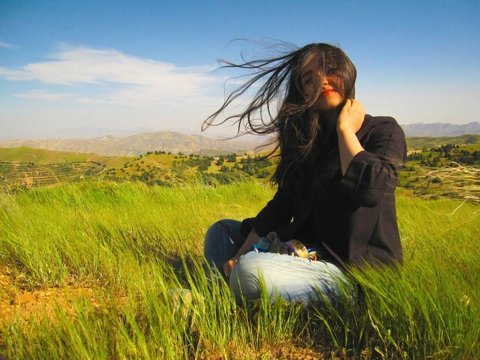 Windy Day Windy Hair My Sister Persian Girl A Girl On The Hilltop Green Nature Green Landscape Nature People Popular Photos Popular EyeEm Nature Lover People And Nature The Portraitist - 2016 EyeEm Awards The Great Outdoors - 2016 EyeEm Awards Enjoying The Nature Hello World EyeEm Women Around The World Welcome To Black Resist Break The Mold Lost In The Landscape