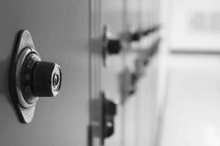 Close-Up Of Combination Locks In Locker Room
