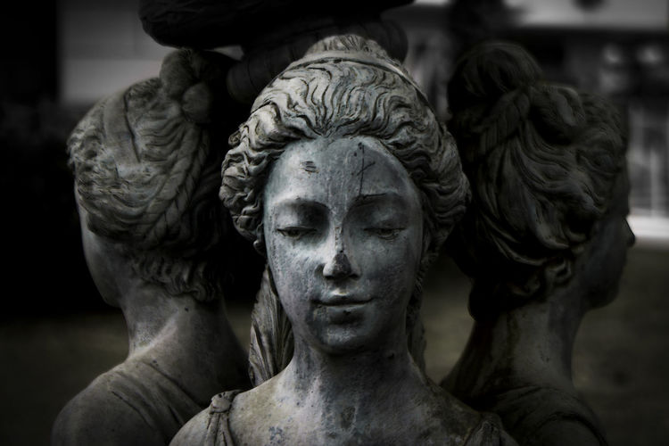 ''He who does not understand your silence will probably not understand your words''(E.Hubbard) ⚫⚫⚫⚫⚫⚫⚫⚫ Art And Craft Beauty Of Decay Close-up Creativity Focus On Foreground Human Representation Loneliness No People Outdoors Sculpture Statue Stone Material Three Graces From My Point Of View Taking Photos Thinking About Life Overthinking Dark Darkness And Beauty Black And White Noir Black & White Showcase June Fine Art Photography