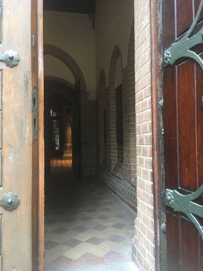 Brick Wall Church OpenEdit Sneak Peek Wood Architecture Brick Building Church Door Day Door Entrance No People Open Outdoors Wood - Material Wooden Door Wooden Texture