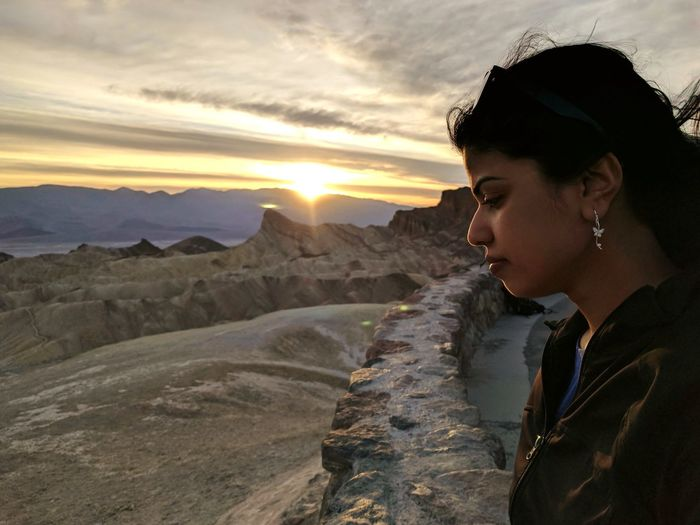 Desert Landscape Outdoors People Sunset Beauty Women Nature Headshot Adventure Travel Destinations Landscape Iconic Landscape Summer Death Valley National Park California Adult Travel Only Women One Person Cloud - Sky Vacations Smiling Side View One Woman Only The Great Outdoors - 2017 EyeEm Awards