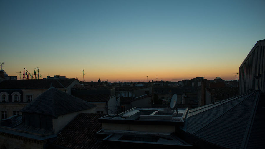 High angle view of city at sunset