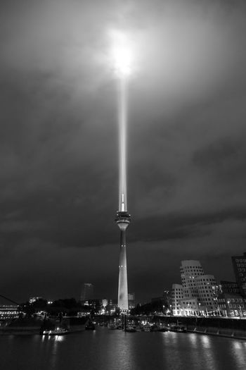 Rheinkomet, Düsseldorf, Germany Architecture Black And White Blackandwhite Built Structure Capital Cities  City Cloud - Sky Communication Tower Duesseldorf Düsseldorf Famous Place Illuminated Medienhafen Outdoors Rhein Rheinkomet Rheinturm  Schwarzweiß Sky Tall - High Tower Travel Destinations Water Monochrome Photography