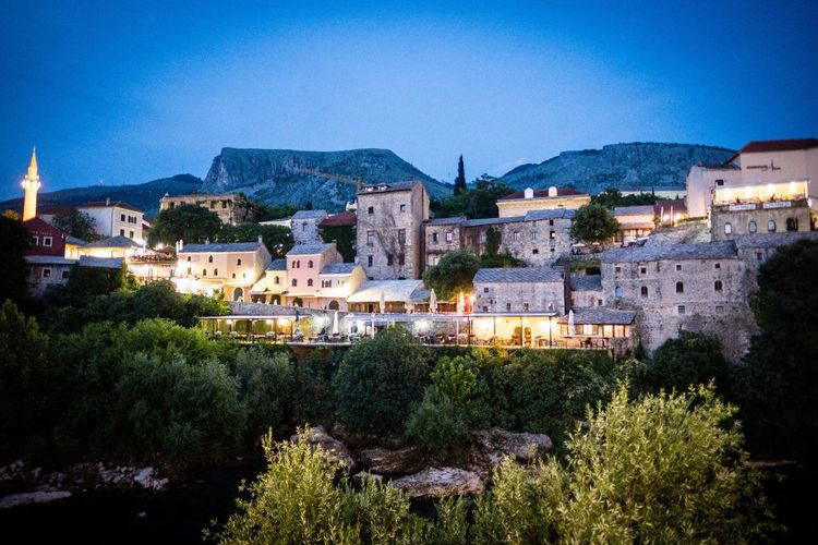 Mostar Stari Most Mostar Architecture Building Exterior Built Structure Tree Plant Building Nature Night Outdoors