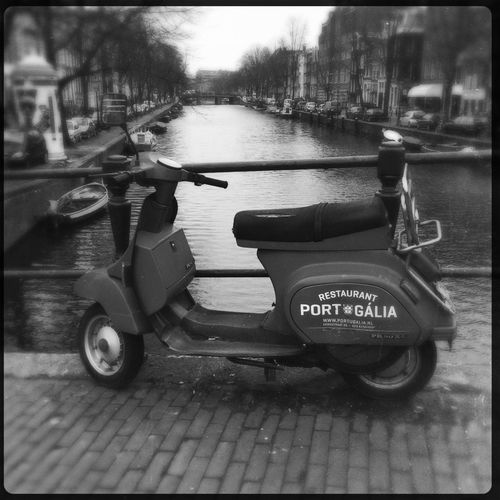 Blackandwhite Photography Blackandwhite Close Up Streetphoto_bw Street Photography Urban Landscape Canals Transportation Scooter Focus On Foreground Amsterdam Canal Hipstamatic Perspective