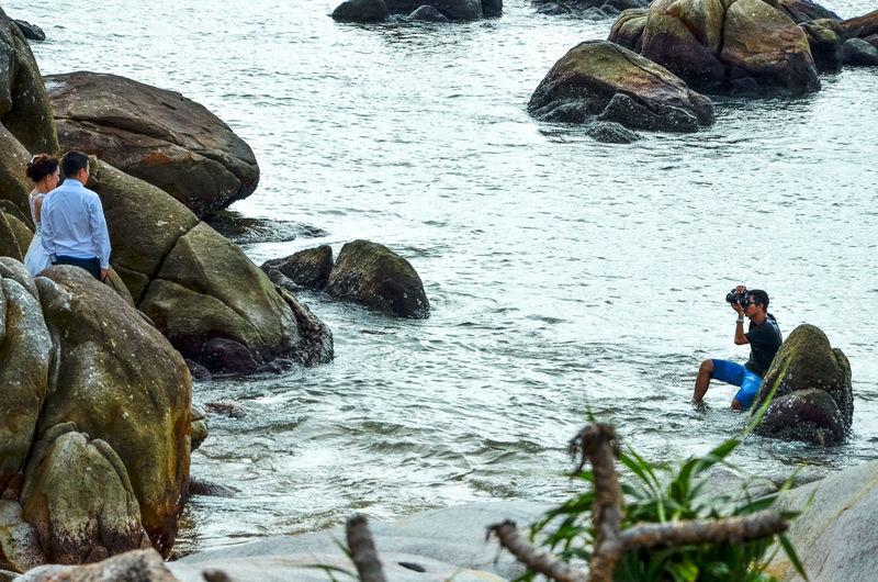 Wedding Photography Adult Adults Only Day Enthusiasm Happy Ke Ga Cape Ke Ga, Viet Nam Men Outdoors People Photography Rock Rock - Object Sacrifice For Art Water Waterdrops Wedding Photography Working