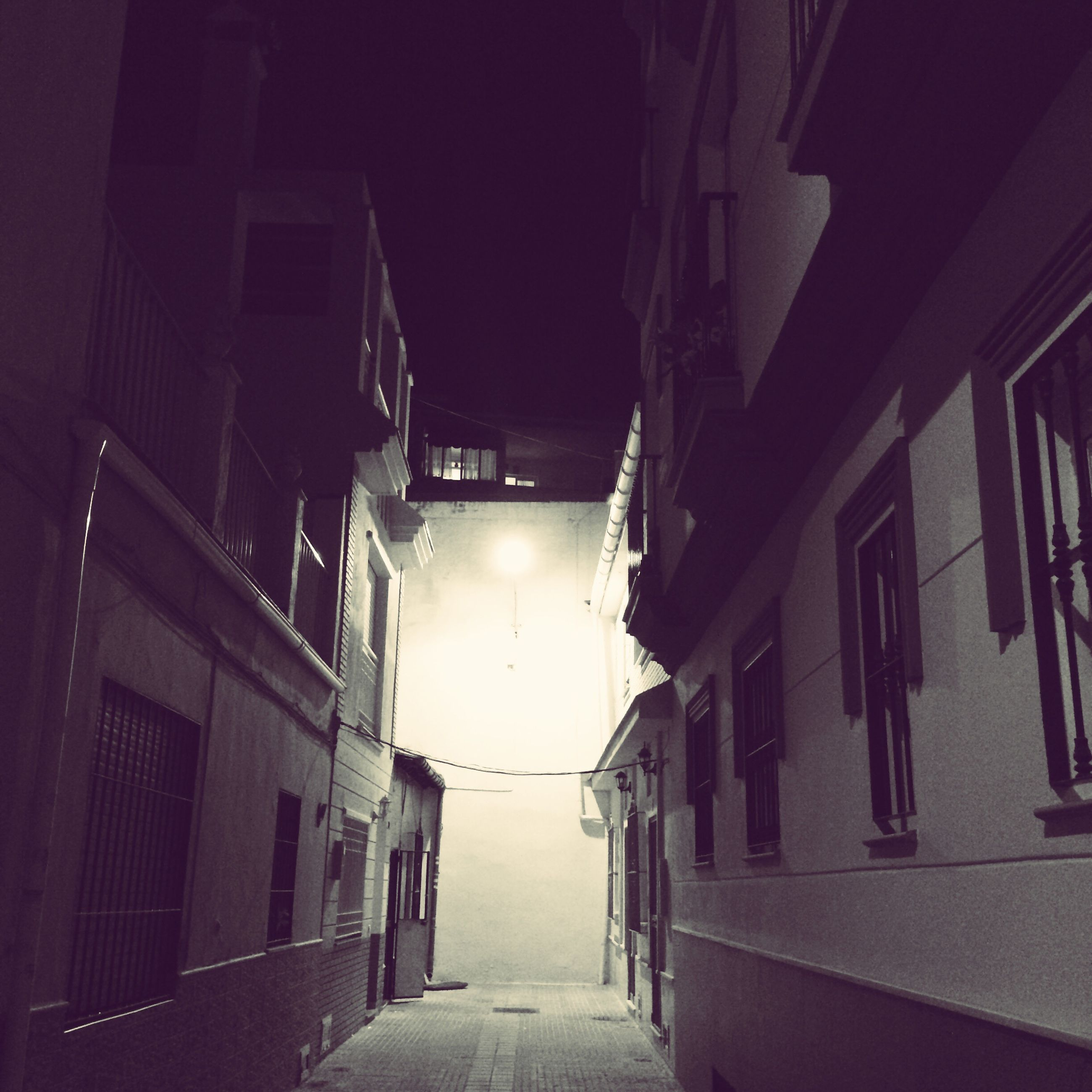architecture, built structure, building exterior, illuminated, the way forward, no people, night, wall lamp, outdoors