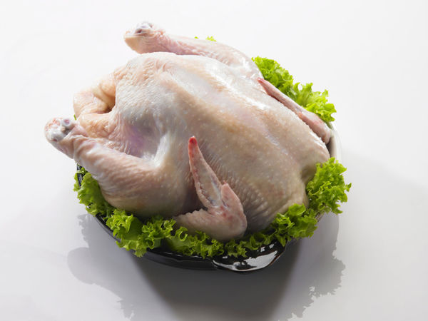 whole chicken on the white background Poultry Chicken - Bird Close-up Food Food And Drink Freshness Garnished Healthy Eating Indoors  Lettuce Meat No People Preparing Food Studio Shot White Background Whole Without Head
