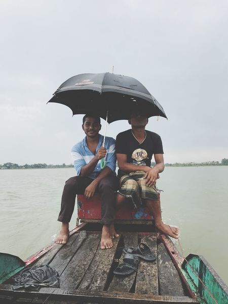 Sitting Nature Two People Boat Umbrella Ratargul Swarp Forest Connected By Travel