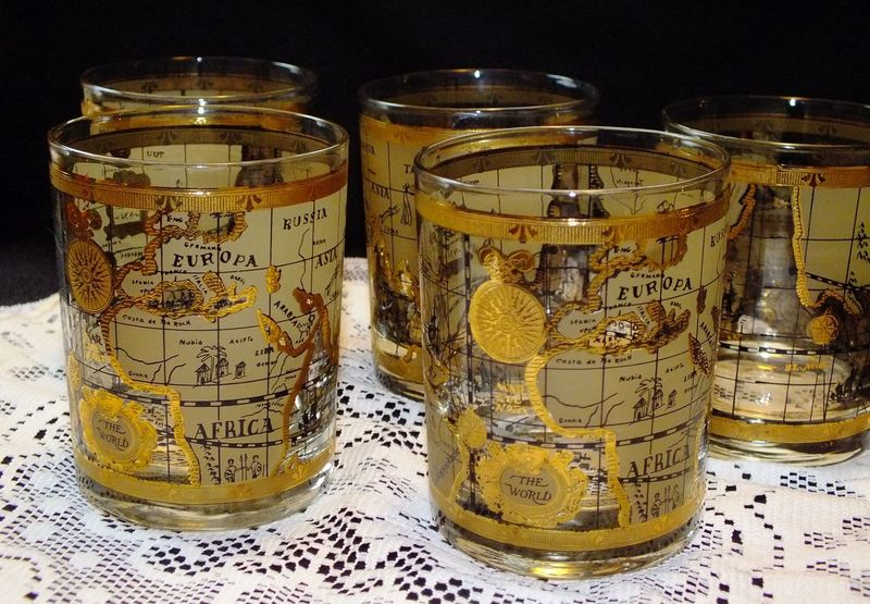 14k Gold Atlas Bar Drinking Drinking Buddies Europe Glasses Gold Highball Lace Man Cave Man Cave Art Manly  Map Still Life Still Life Photography Stillife StillLifePhotography Vintage Vintage Drinkware Vintage Glass Vintage Glasses World