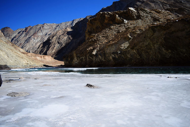 frozen zanskar river and mountains Travel Destinations Tourism Trip Adventure Chadar Trek 2016 Cold Temperature Frozen Nature Frozen Water Hiking Ice Majestic Mountain_collection Mountains Mountains And Sky River Tranquil Scene Travel Travelling Trekking Trip Winter Zanskar River Landscapes With WhiteWall Frozen Rocky Mountains Cold Weather Condition Covering