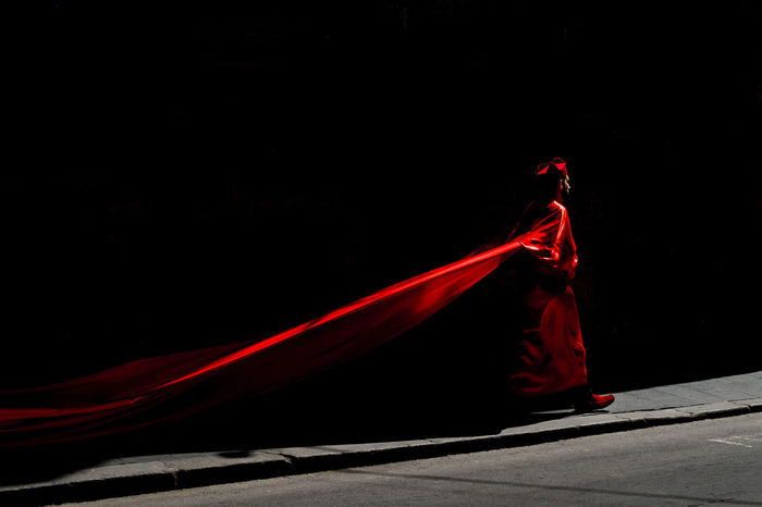 RED LIGHT OVER BLACK BACKGROUND