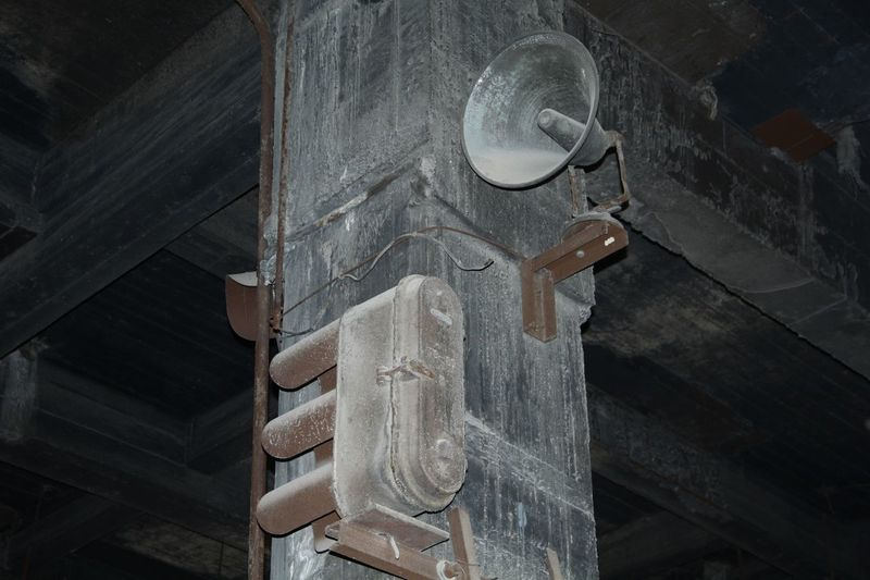 Low angle view of loudspeaker on pillar