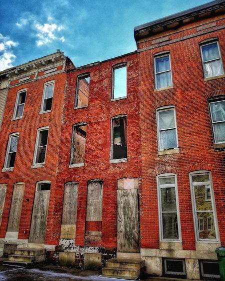 The Middle Baltimore AMPt - Street Abandoned Buildings Abandoned Places Abandoned AMPt - Abandon Abandoned & Derelict EyeEm Best Shots - Landscape Brick Building Urbexphotography Urbanphotography Urban Landscape EyeEmBestEdits AMPt Community AMPt - My Perspective Facades Walking Around The City  #ampt-escape Red Window Sky Architecture Building Exterior Built Structure Close-up Cloud - Sky Weathered Bad Condition Run-down