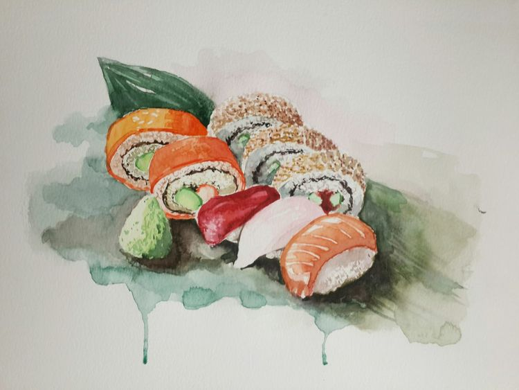 😛Sushi Drawing Watercolor Looksgood Delicious