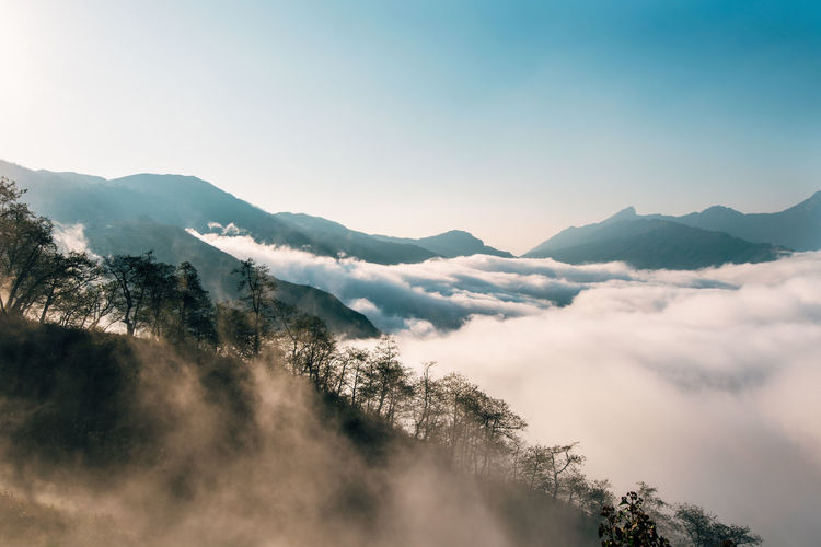 Lao Than mountain Sky Scenics - Nature Beauty In Nature Tranquil Scene Tranquility Cloud - Sky Nature Plant Day Outdoors Mountain Mountain Range No People Tree Environment Non-urban Scene Idyllic Landscape Fog Mountain Peak The Great Outdoors - 2019 EyeEm Awards
