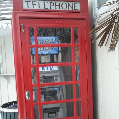 Cool new use for an old telephone booth, the ATM booth at FagersIsland Ocmd