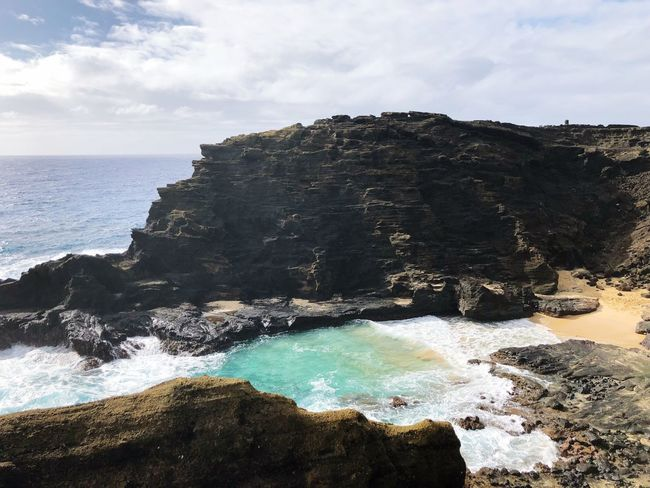 Hawaii beach life Ocean Hawaii Water Sea Sky Beach Beauty In Nature Land Scenics - Nature Nature Cloud - Sky Rock Horizon Over Water Horizon Rock - Object Solid Day Tranquility Tranquil Scene Wave Outdoors No People