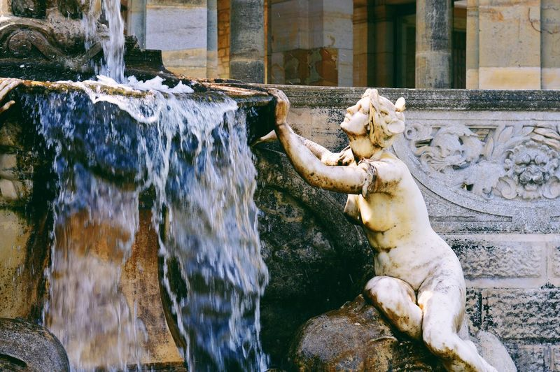 Fountain Water Outdoors Statue Sculpture Day No People Architecture Motion Waterfall Nature Fountain Garden Photography Garden Feature Castle Grounds VSCO EyeEm Best Shots