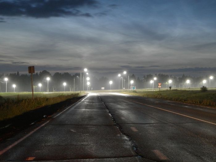 View of empty road at dusk