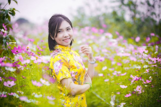 Aodai Yellow Girls Beauty Portrait Spring Canon 6D 80200