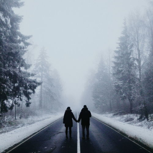 Rear view of friends holding hands while standing on road during winter