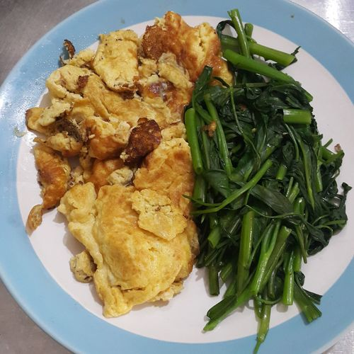 Plate Ready-to-eat Food Serving Size Freshness Food And Drink No People Healthy Eating Indoors  Table Homemade Close-up Day Omlette Swamp Cabbage Morning Glory Egg