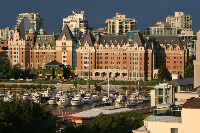 Architecture Blue Building Building Exterior Built Structure Capital Cities  City City Life City Street Cityscape Day Elevated View Mode Of Transport No People Outdoors Sky The Empress The Fairmont Empress Hotel Travel Destinations Tree Victoria Harbour My Year My View Adapted To The City Sommergefühle