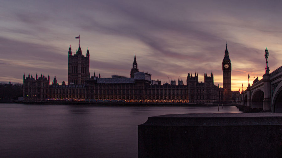 View of big ben against sky at sunset