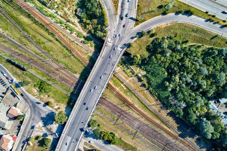 Aerial view of bridge over railroad tracks