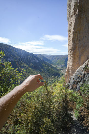 The Jonte Canyon in the region of Lozère in the South of France. Sky And Clouds Adult Adults Only Beauty In Nature Close-up Day Forest Hand Human Body Part Human Hand Landscape Mountain Mountain Range Nature One Man Only One Person Only Men Outdoors People Scenics Sky Tree Young Adult